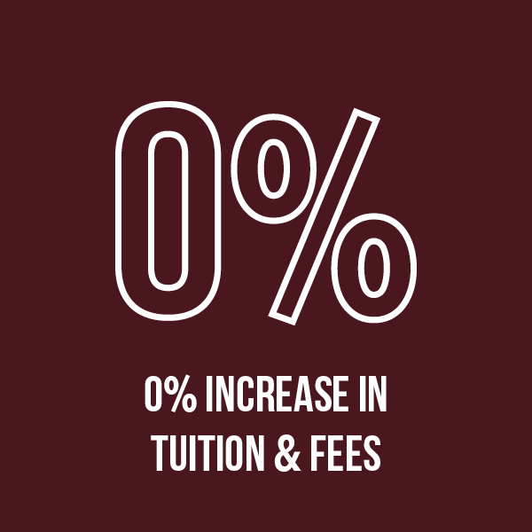 0% Increase in Tuition and Fees